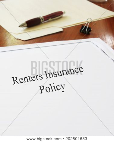 Renters Insurance Policy on an office desk