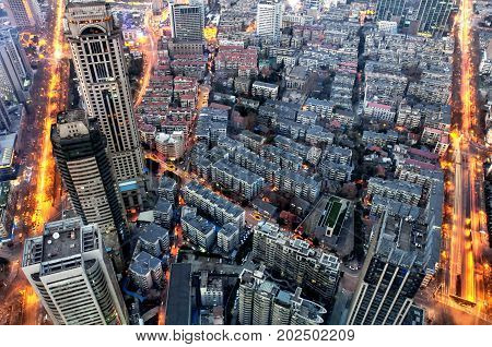 The city of nanjing china lit up at night as seen from the top of zifeng tower.