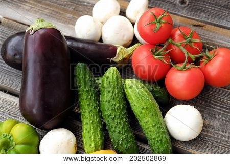 Useful fresh vegetables and mushrooms from the garden