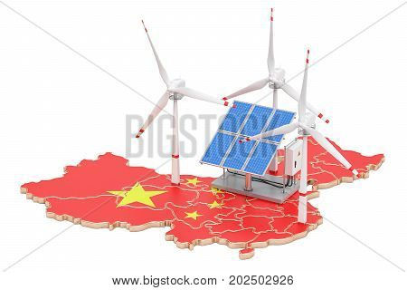 Renewable energy and sustainable development in China concept. 3D rendering isolated on white background