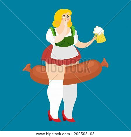 Oktoberfest Girl And Sausage. National Beer Festival In Germany. Woman And Beer