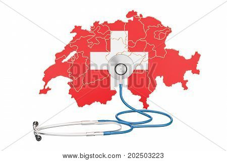 Swiss map with stethoscope national health care concept 3D rendering