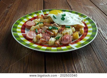 Biksemad - Scandinavian Hash.traditional Danish dish. , close up meal