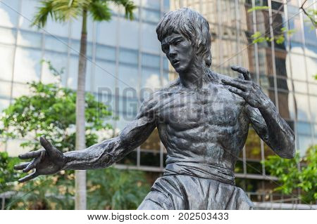 Close-up Photo Of Bruce Lee Statue