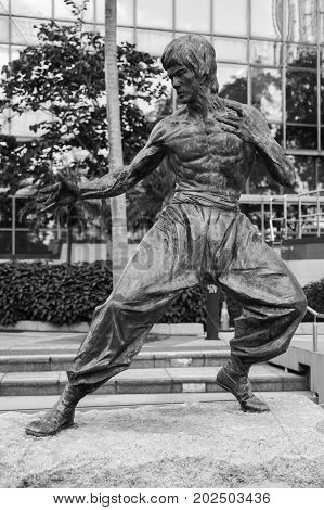 Black And White Photo Of Bruce Lee Statue