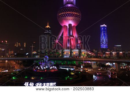 Shanghai China - December 01, 2016:  Shanghai Oriental Pearl Tv Tower At Night, Shanghai Pudong Fina
