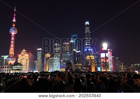 Shanghai China - December 02, 2016:  Pudong District Skyscrapers At Night In Shanghai China. Pudong