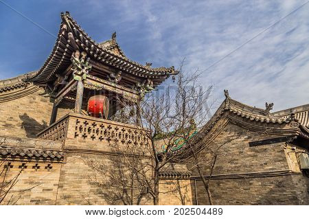 Morning view of ancient City of Ping Yao (UNESCO World Heritage site). A famous historic site in Pingyao, Shanxi, China.