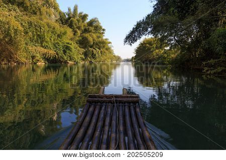 Bamboo Rafting In Idyllic Li River Scenery, Landscape Of Yangshuo In Guilin, China