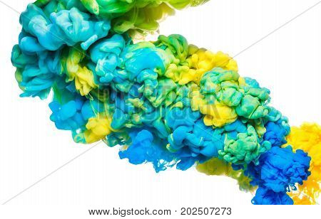Colorful ink in water isolated on white. Abstract acrylic background. Color Paint liquid cloud in motion