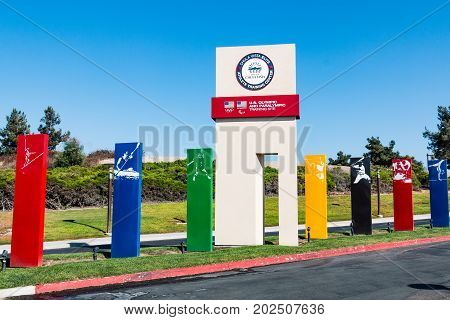 CHULA VISTA, CALIFORNIA - AUGUST 26, 2017:  Sign markers for various sports at the entrance to the Chula Vista Elite Athlete Training Center, built in 1995 to train Olympic and paralympic athletes.