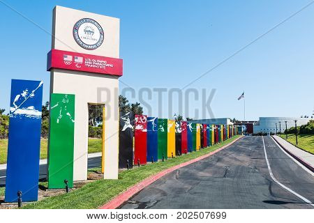 CHULA VISTA, CALIFORNIA - AUGUST 26, 2017:  Roadway with sign markers leading to the Chula Vista Elite Athlete Training Center, a facility built in 1995 for training Olympic and paralympic athletes.