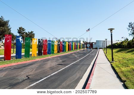 CHULA VISTA, CALIFORNIA - AUGUST 26, 2017:  Entranceway to the Chula Vista Elite Athlete Training Center, a facility built in 1995 for training Olympic and paralympic athletes.