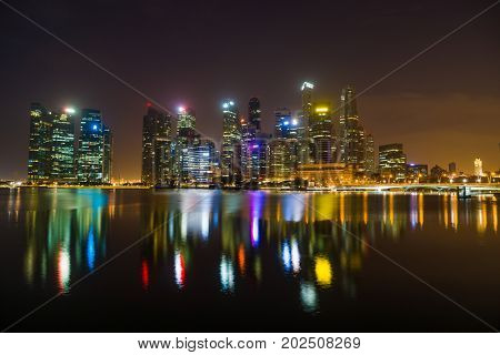Singapore - February 16 2017: Singapore Cityscape Financial building  in Marina Bay area Singapore at  Dusk