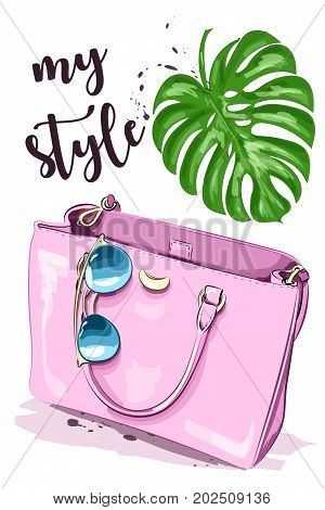 Cute graphic set with stylish accessories: sunglasses and pink bag. Sketch. Vector illustration.