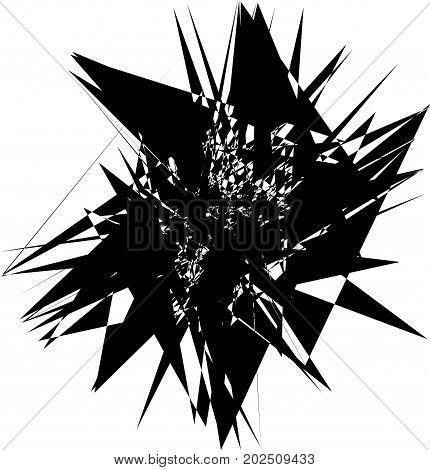 Radial Abstract Op-art Element. Black Abstract Shape Isolated On White