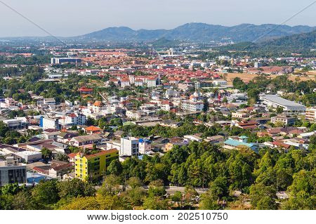 Aerial View From Khao Rung The Viewpoint Of Phuket Town