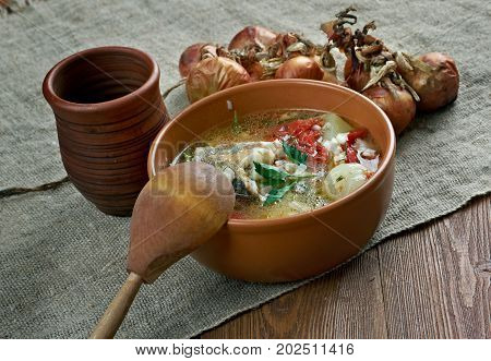 scherba - Russian Cossack fish soup , close up meal