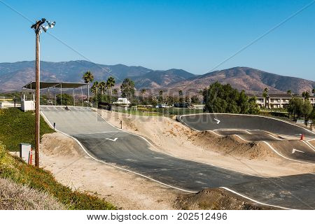 CHULA VISTA, CALIFORNIA - AUGUST 26, 2017:  Start gate and BMX racing track at the Chula Vista Elite Athlete Training Center, a 155-acre facility built in 1995 for Olympic and paralympic athletes.
