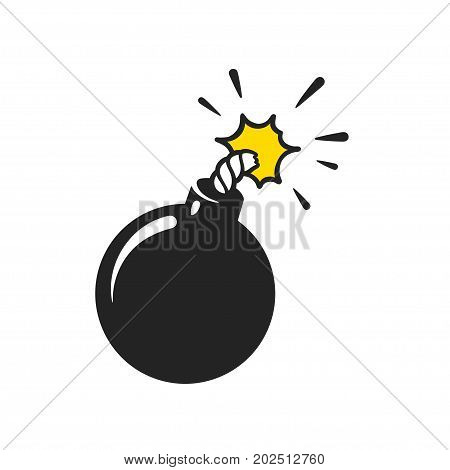 Cartoon comic style bomb illustration. Classic black ball grenade isolated vector clip art.