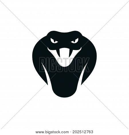 Cobra head icon or logo. Stylized snake mascot vector illustration.