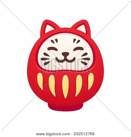 Cute cat shaped traditional Japanese Daruma doll. Kawaii smiling good luck symbol. Isolated vector illustration.