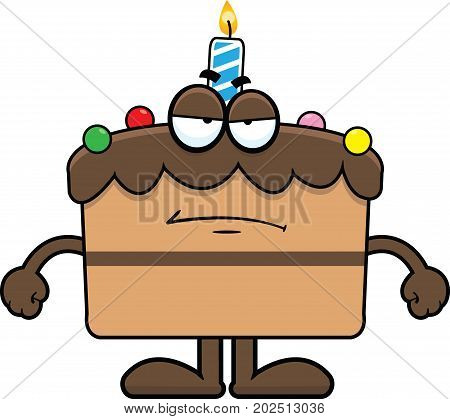 Cartoon illustration of a birthday cake with a grumpy expression.
