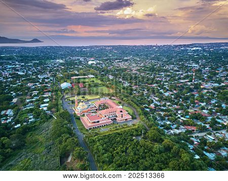 Landscape of Managua city in Nicaragua aerial view