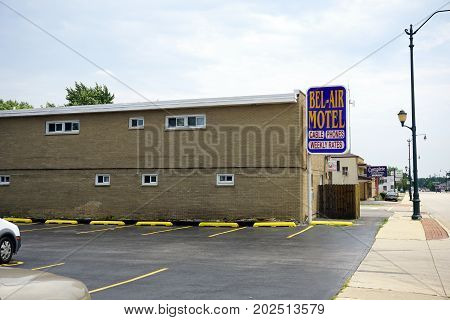 JOLIET, ILLINOIS / UNITED STATES - JULY 20, 2017: The Bel-Air Motel offers lodging, including weekly rates, on Plainfield Road.