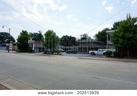 JOLIET, ILLINOIS / UNITED STATES - JULY 20, 2017: The Town House Motel offers lodging on Plainfield Road.