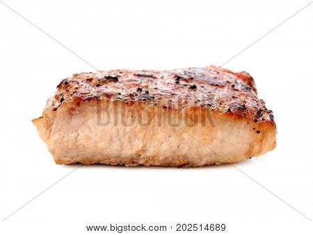 Well done steak on white background