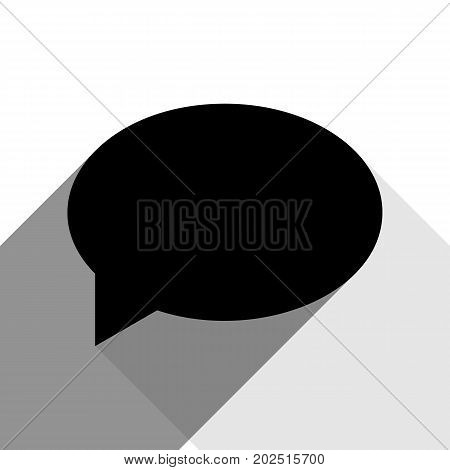 Speech bubble icon. Vector. Black icon with two flat gray shadows on white background.