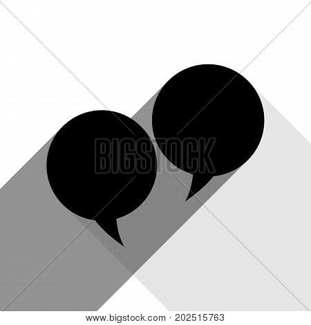 Two speech bubble sign. Vector. Black icon with two flat gray shadows on white background.