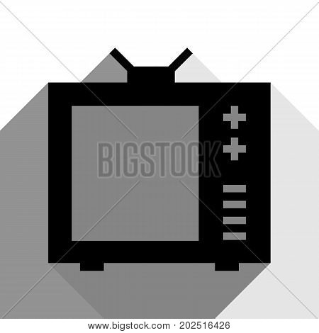 TV sign illustration. Vector. Black icon with two flat gray shadows on white background.