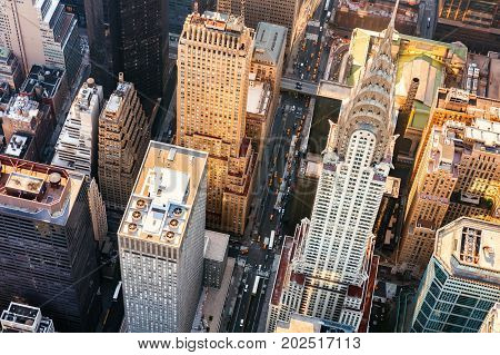 Aerial view of Midtown Manhattan, NY with the Chrysler building