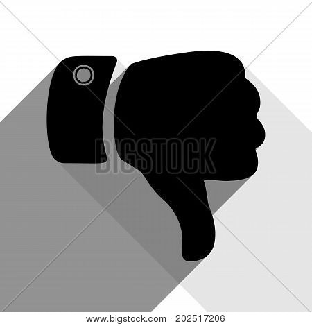 Hand sign illustration. Vector. Black icon with two flat gray shadows on white background.