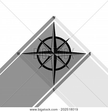 Wind rose sign. Vector. Black icon with two flat gray shadows on white background.