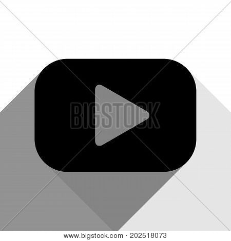 Play button sign. Vector. Black icon with two flat gray shadows on white background.