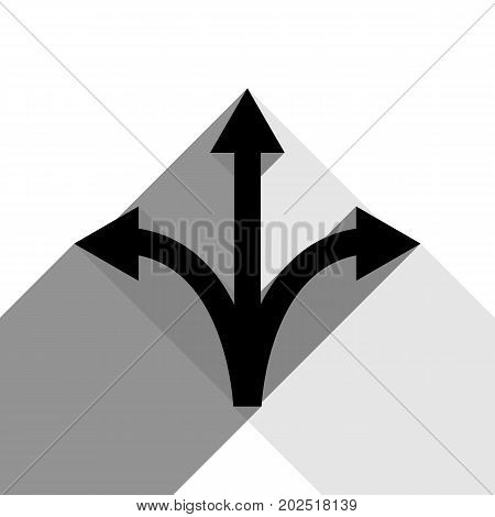 Three-way direction arrow sign. Vector. Black icon with two flat gray shadows on white background.