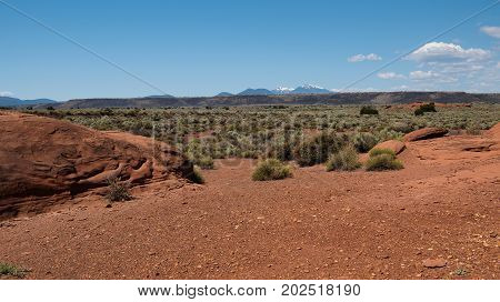 The desert landscape in Wupatki National Monument with the San Francisco Peaks in the background
