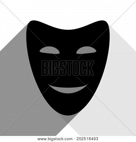 Comedy theatrical masks. Vector. Black icon with two flat gray shadows on white background.