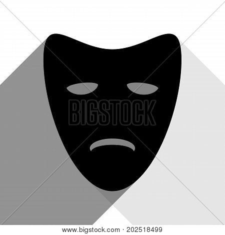 Tragedy theatrical masks. Vector. Black icon with two flat gray shadows on white background.