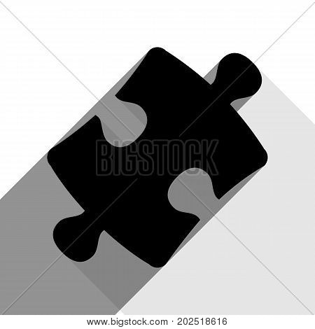 Puzzle piece sign. Vector. Black icon with two flat gray shadows on white background.