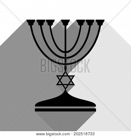 Jewish Menorah candlestick in black silhouette. Vector. Black icon with two flat gray shadows on white background.