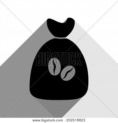 Coffee bag Icon. Coffee bag. Vector. Coffee bag Icon Button. Vector. Black icon with two flat gray shadows on white background.