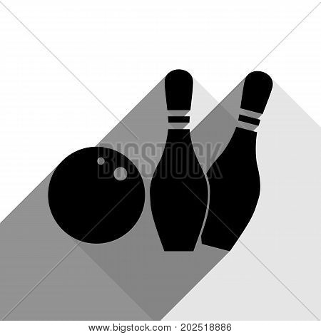 Bowling sign illustration. Vector. Black icon with two flat gray shadows on white background.