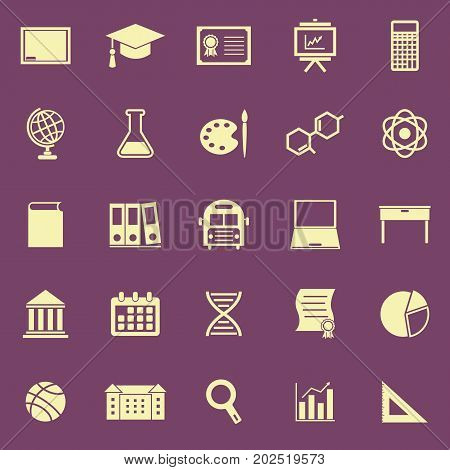 Education color icons on purple background, stock vector