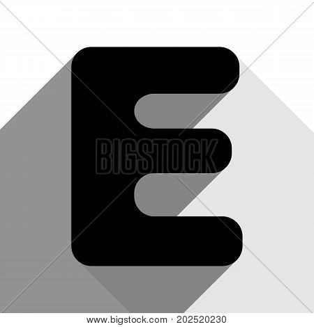 Letter E sign design template element. Vector. Black icon with two flat gray shadows on white background.