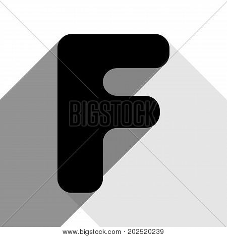 Letter F sign design template element. Vector. Black icon with two flat gray shadows on white background.