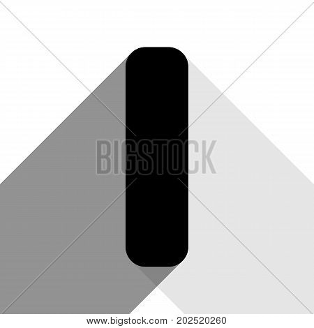 Letter I sign design template element. Vector. Black icon with two flat gray shadows on white background.